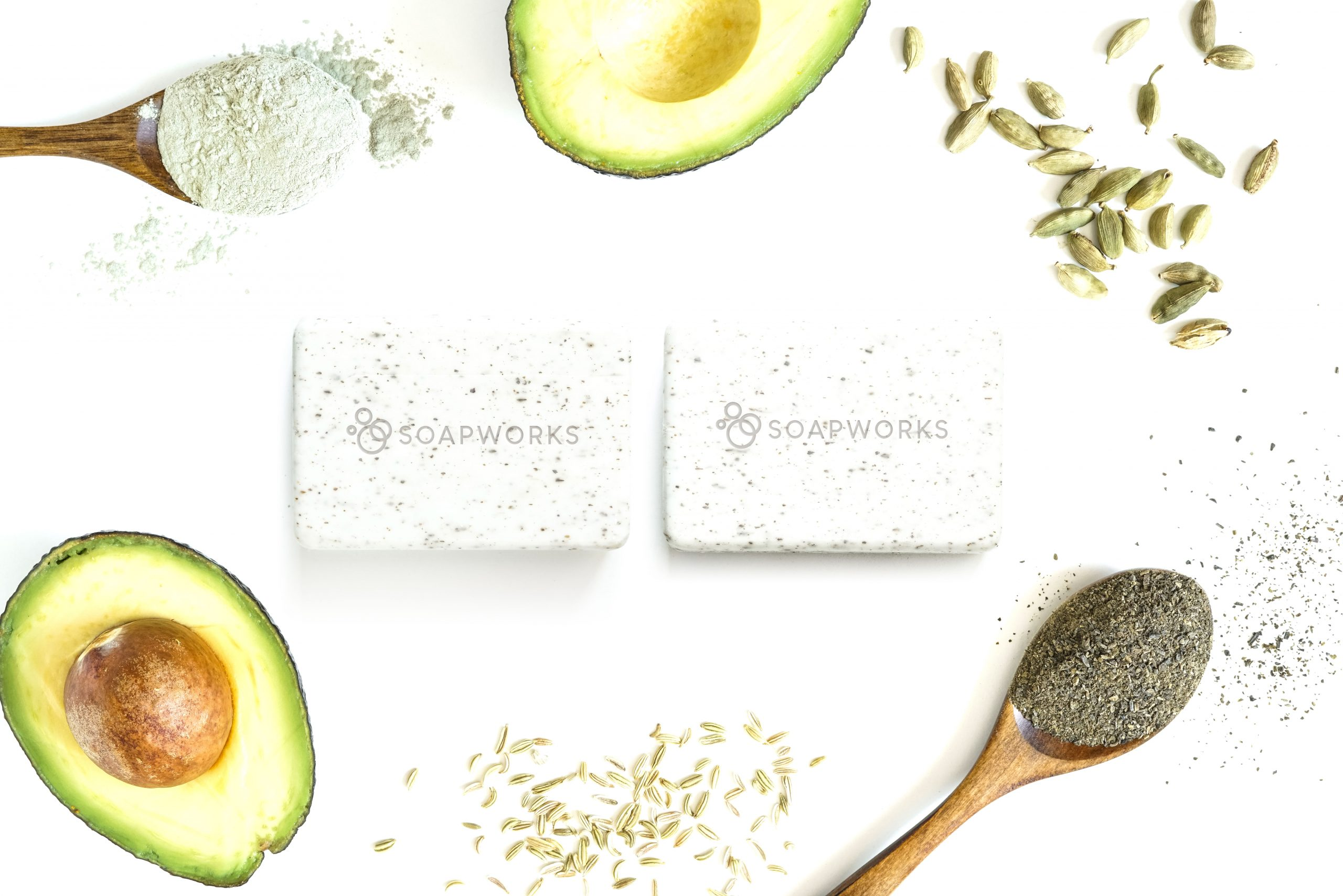 Bar soap with vegan ingredients on a white back ground