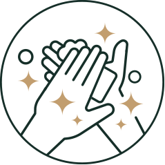 Icon washing hands with bar soap and stars to indicate hand washing