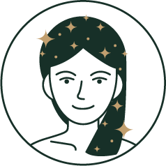 Icon of female with long hair with stars on hair to indicate hair washing