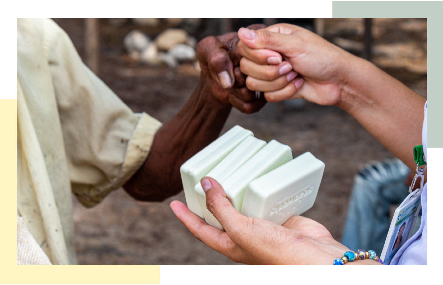 Soap aid being distributed by staff member to vulnerable communities