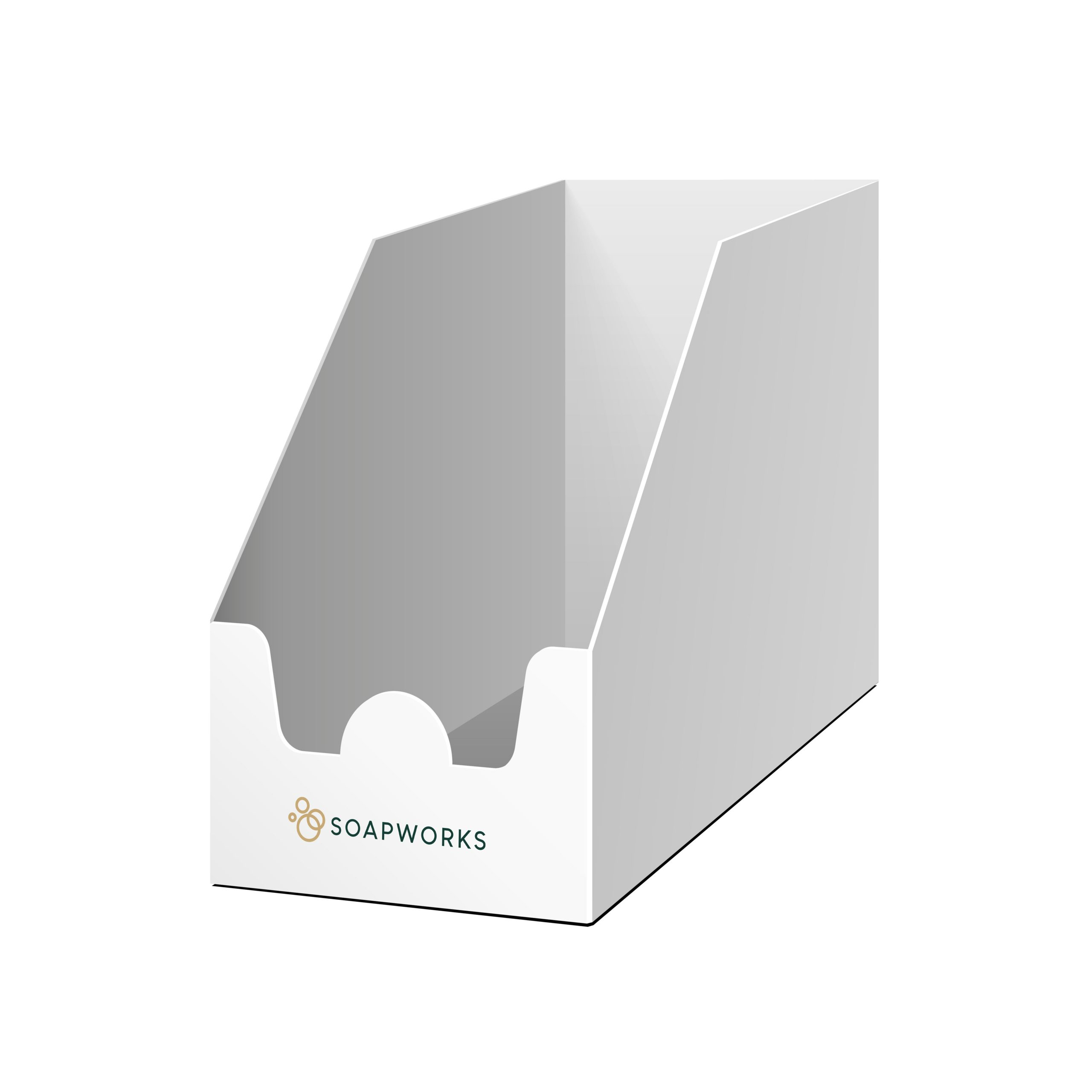 Soapworks shelf ready packaging outer case on a white background