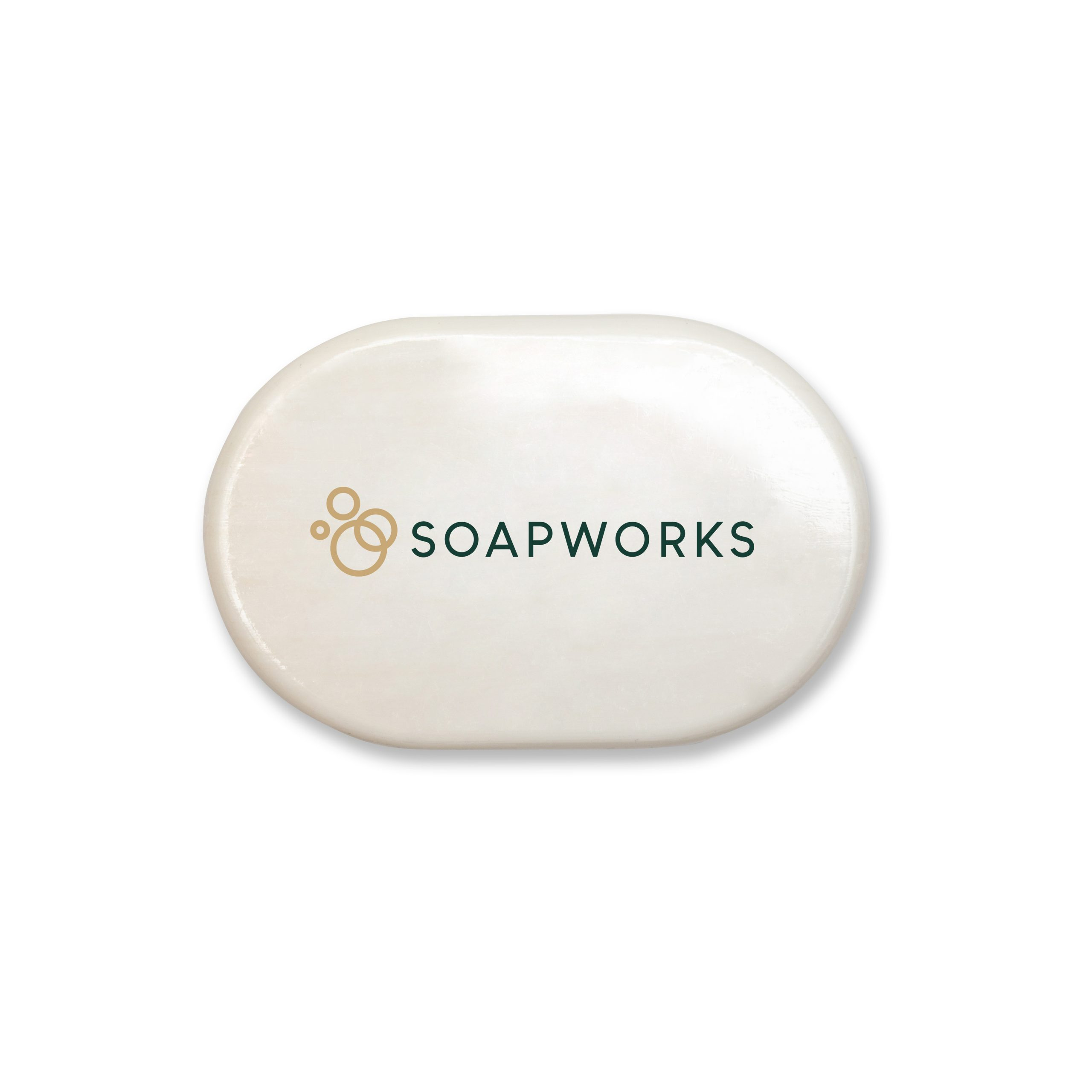Soapworks branded stretch wrap soap on a white background