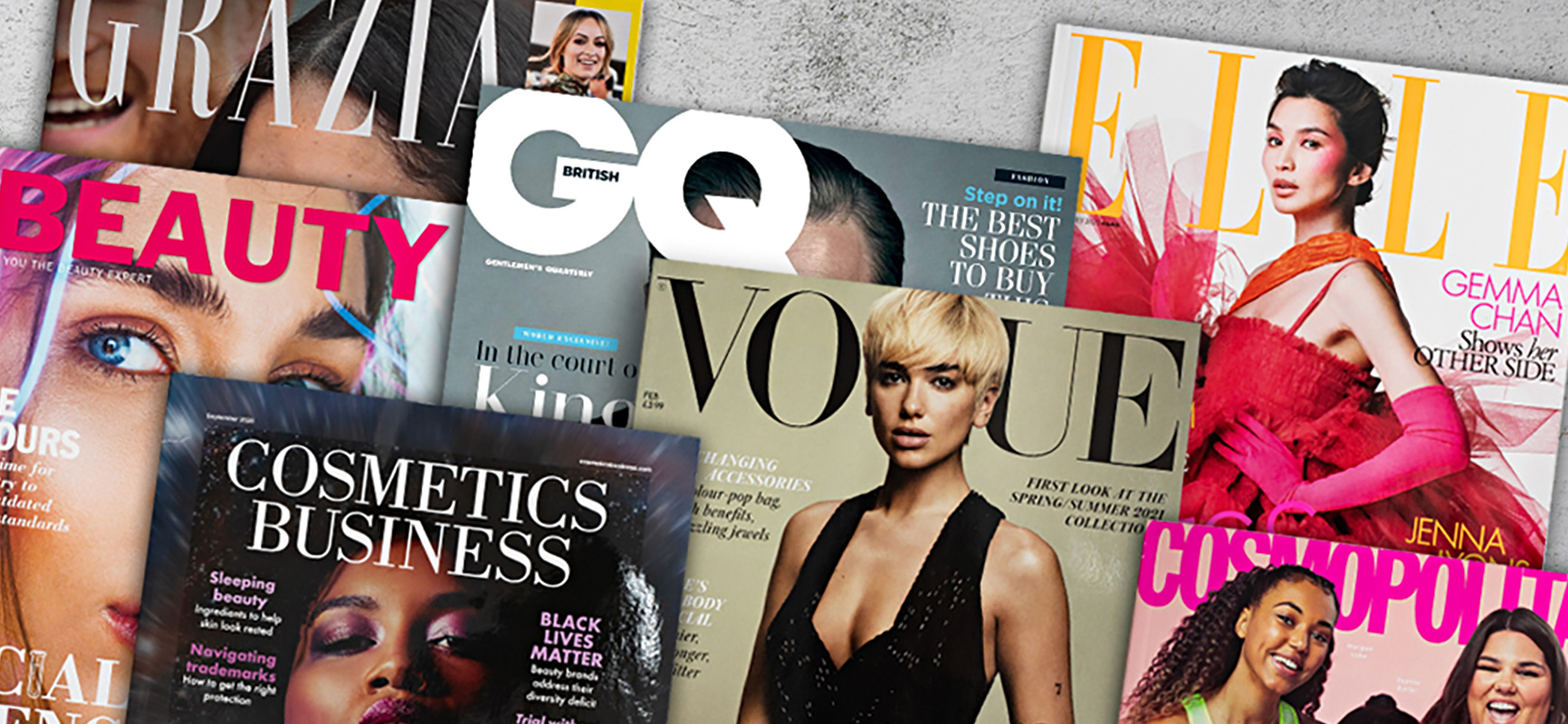 Selection of magazines highlighting the latest market trends