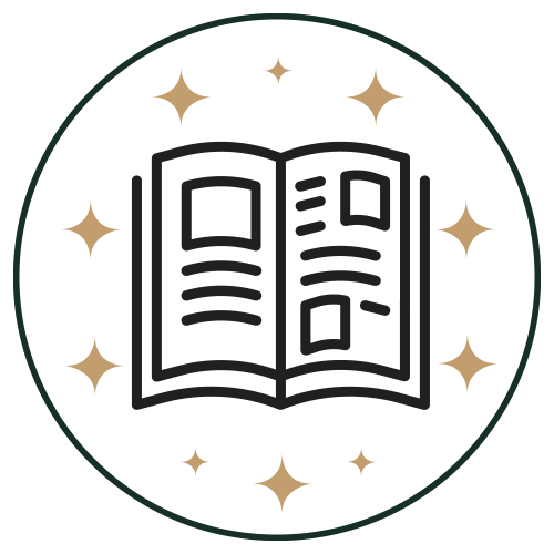 Icon - Open book in circle with stars
