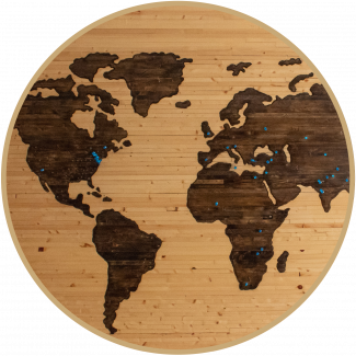 Map of the world on a wood effect background