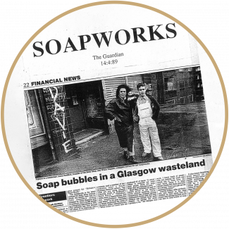 Newspaper article of Anita Roddick discussing the opening of Soapworks Ltd