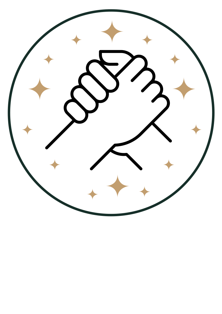 Collaboration icon - Hands clasping in circle with stars