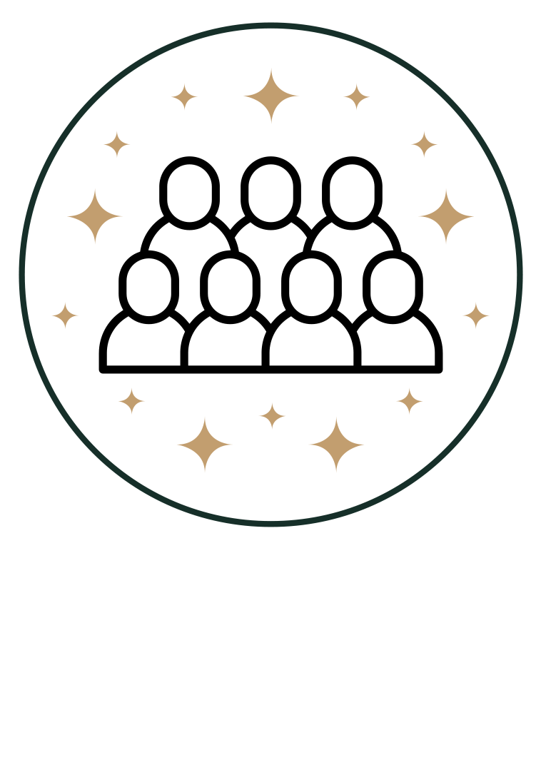 Community icon - Groups of people in circle with stars