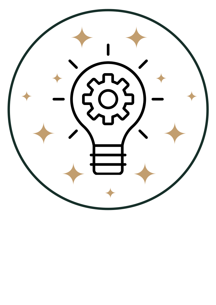 Innovation icon - Lightbulb in circle with stars