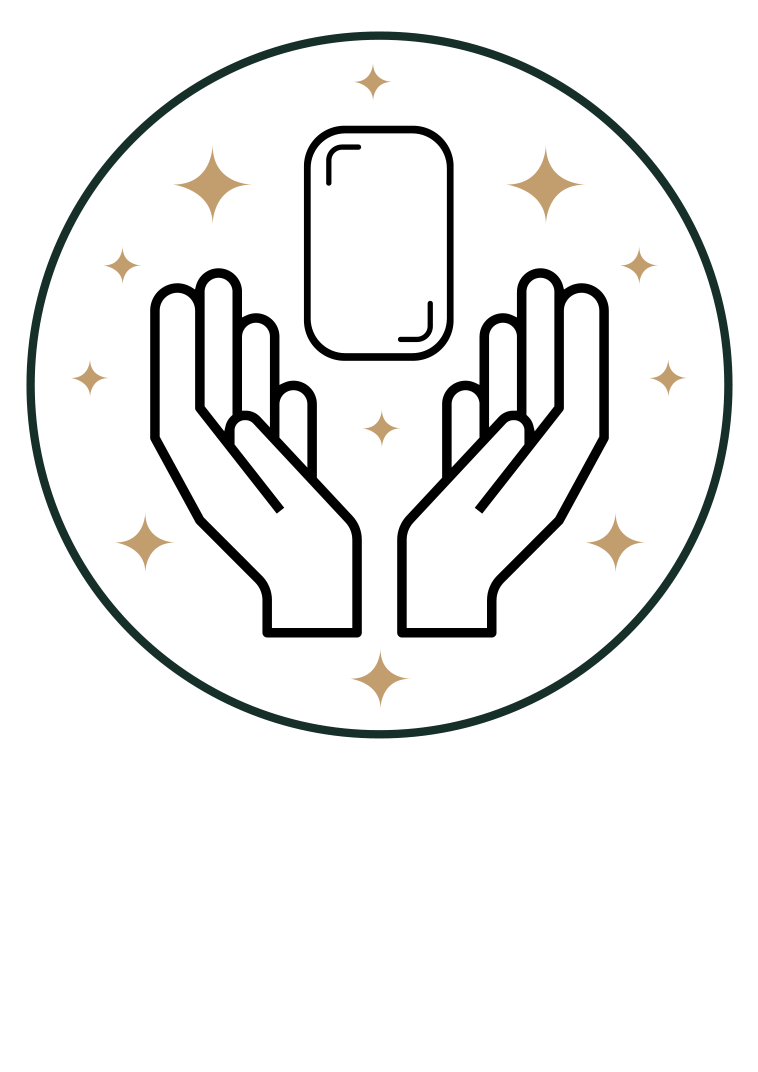 Integrity icon - Hands surrounding bar of soap in circle with stars
