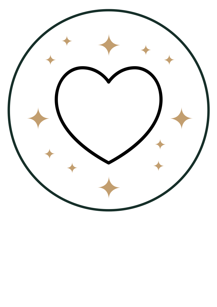 Passion icon - Heart in circle with stars