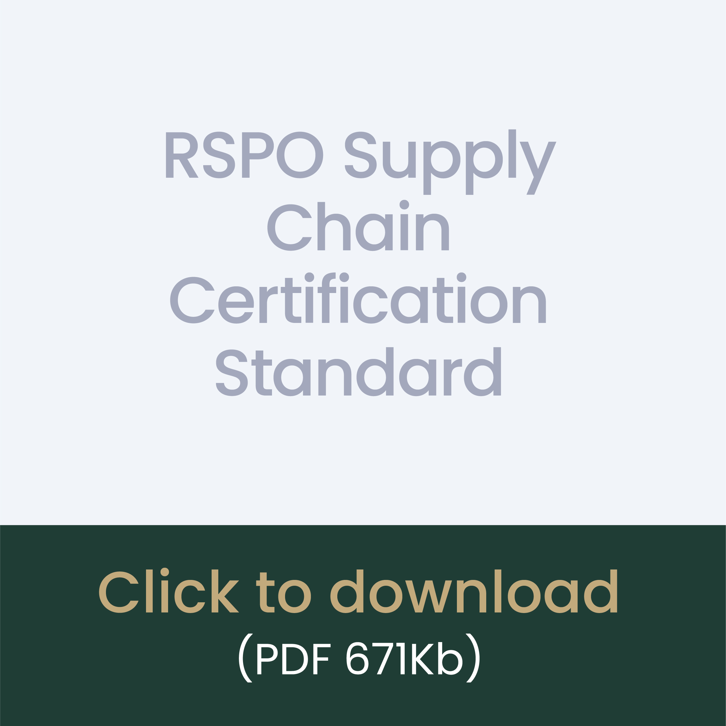 RSPO Supply Chain Certification Standard download link